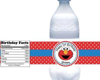 Elmo Sesame Street - Personalized water bottle labels - Set of 5  Waterproof labels