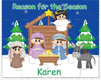 Christmas Nativity Personalized Puzzle, Personalized Nativity Puzzle, Personalized Kids Puzzle
