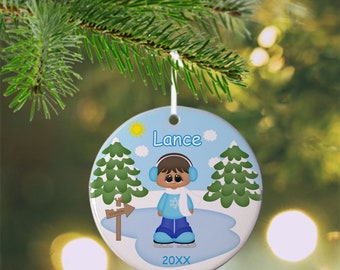 Ice Skating Boy Ornament - Personalized Ice Skate Ornament, Ice Skate Ornament, Kids Ornament, Christmas Tree Ornament