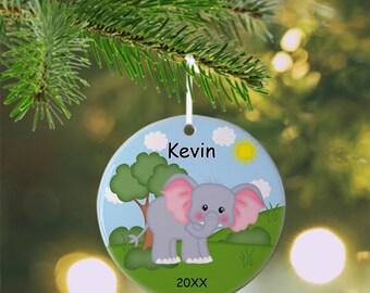 Elephant Ornament - Personalized Elephant Ornament, Zoo Ornament, Kids Ornament, Christmas Tree Ornament