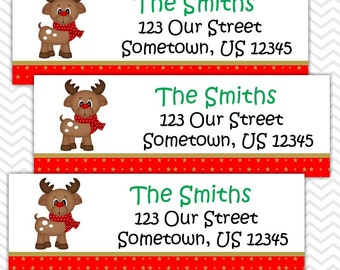 Christmas Reindeer - Personalized Address labels, Stickers
