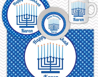 Hanukkah Menorah Plate, Bowl Mug  Set - Personalized Hanukkah Plate Set - Customized Plate, Bowl, Mug - Melamine Plate, Bowl & Set for Kids
