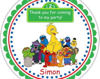 Sesame Street - Personalized Stickers, Party Favor Tags, Thank You Tags, Gift Tags, Address labels, Birthday, Baby Shower