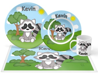 Raccoon Plate Set - Personalized Kids Plate, Bowl, Mug & Placemat - Raccoon Plate Set - Kids Plastic Tableware - Microwave Safe