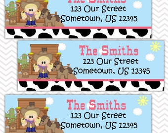 Cowgirl - Personalized Address labels, Stickers