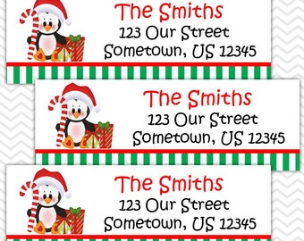 Christmas Penguin Present - Personalized Address labels, Stickers