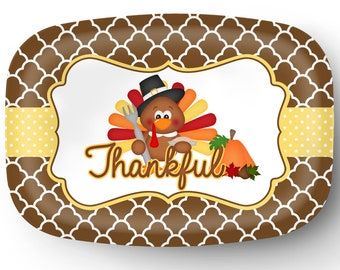 Personalized Platter - Custom Tray with Turkey - Personalized Thanksgiving Turkey Serving Platter - Custom Melamine Platter
