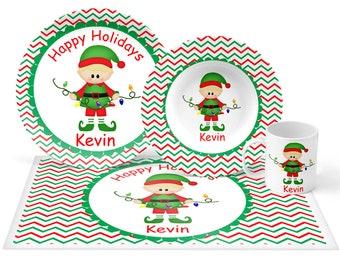 Christmas Elf Boy Plate Set - Personalized Kids Plate, Bowl, Mug & Placemat - Elf Plate Set - Kids Plastic Tableware - Microwave Safe