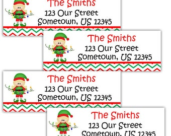 Christmas Elf Girl - Personalized Address labels, Stickers