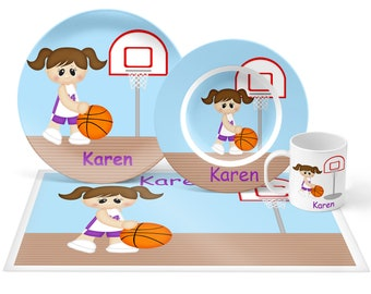 Basketball Girl Plate Set - Personalized Kids Plate, Bowl, Mug & Placemat - Basketball Plate Set - Kids Plastic Tableware - Microwave Safe
