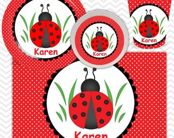 Ladybug Red Black Plate, Bowl, Cup, Placemat - Personalized Ladybug Dinnerware for Kids - Custom Tableware