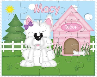Dog House Pink Personalized Puzzle, Personalized Dog Puzzle, Personalized Kids Puzzle