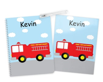 Fire Truck Folder Notebook Set - Personalized School Folder - Personalized Notebook - Folder with Name - Back to School
