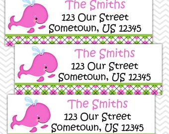 Preppy Pink Whale - Personalized Address labels, Stickers, Baby Shower