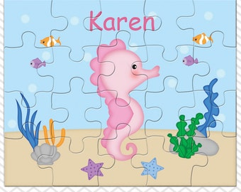 Seahorse Personalized Puzzle, Personalized Seahorse Puzzle, Personalized Kids Puzzle