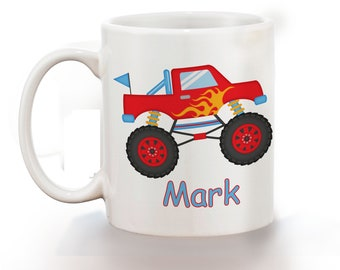 Monster Truck Personalized Kids Mug, Personalized Polymer Mug, Personalized Ceramic Mug, Custom Personalized Kids Mug