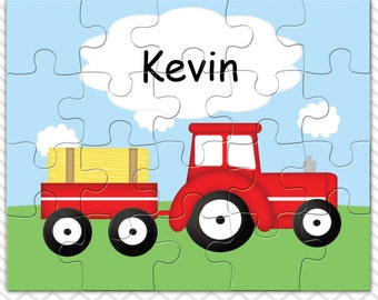 Tractor Red Personalized Puzzle, Personalized Tractor Puzzle, Personalized Kids Puzzle