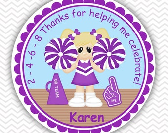 Cheerleader - Personalized Stickers, Party Favor Tags, Thank You Tags, Gift Tags