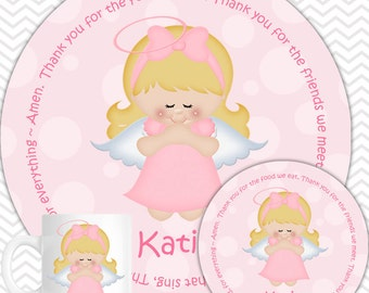 Kneeling Angel Pink Plate, Bowl Mug  Set - Personalized Plate Set - Customized Plate, Bowl, Mug - Melamine Plate, Bowl & Set for Kids