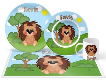 Porcupine  Plate Set - Personalized Kids Plate, Bowl, Mug & Placemat - Porcupine Plate Set - Kids Plastic Tableware - Microwave Safe