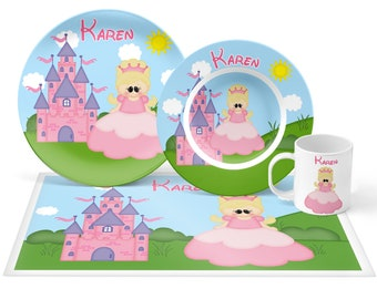 Princess Plate Set - Personalized Kids Plate, Bowl, Mug & Placemat - Princess Plate Set - Kids Plastic Tableware - Microwave Safe