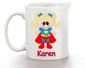 Supergirl Superhero Personalized Kids Mug, Personalized Polymer Mug, Personalized Ceramic Mug, Custom Personalized Kids Mug