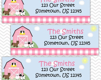 Barn Yard Farm Animals Pink Gingham - Personalized Address labels, Stickers
