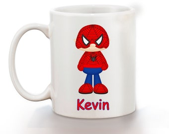 Spiderman Superhero Personalized Kids Mug, Personalized Polymer Mug, Personalized Ceramic Mug, Custom Personalized Kids Mug