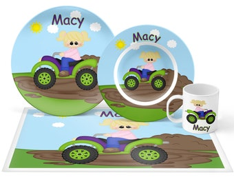ATV 4-Wheeler Girl Plate Set - Personalized Kids Plate, Bowl, Mug & Placemat - ATV Plate Set - Kids Plastic Tableware - Microwave Safe