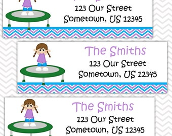 Trampoline Girl - Personalized Address labels, Stickers