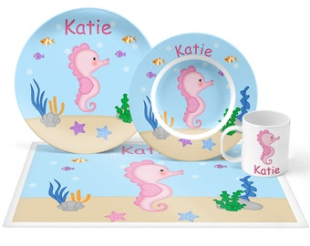 Seahorse Plate Set - Personalized Kids Plate, Bowl, Mug & Placemat - Seahorse Plate Set - Kids Plastic Tableware - Microwave Safe