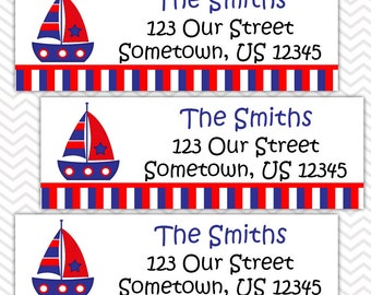 Nautical Sail Boat Blue and Red  - Personalized Address labels, Stickers, Baby Shower, Birthday