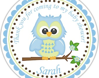 Owl Blue - Personalized Stickers, Party Favor Tags, Thank You Tags, Gift Tags, Address labels, Birthday, Baby Shower