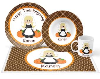 Pilgram Girl Plate Set - Personalized Kids Plate, Bowl, Mug & Placemat - Pilgram Plate Set - Kids Plastic Tableware - Microwave Safe