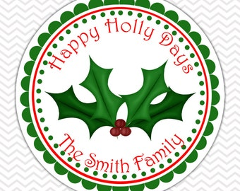 Christmas Holly -  Personalized Stickers, Party Favor Tags, Thank You Tags, Gift Tags, Address labels, Birthday