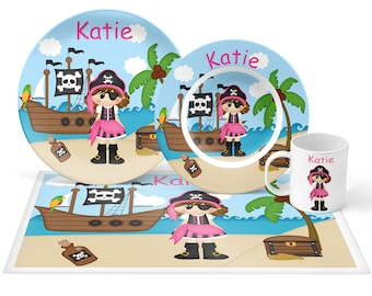 Pirate Girl Plate Set - Personalized Kids Plate, Bowl, Mug & Placemat - Pirate Plate Set - Kids Plastic Tableware - Microwave Safe
