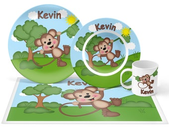 Monkey Plate Set - Personalized Kids Plate, Bowl, Mug & Placemat - Monkey Plate Set - Kids Plastic Tableware - Microwave Safe