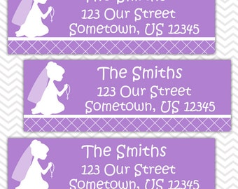 Kneeling Girl Purple Baptism Christening First Holy Communion  - Personalized Address labels, Stickers