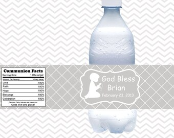 Kneeling Boy Grey Baptism Christening First Holy Communion  - Personalized water bottle labels - Set of 5  Waterproof labels
