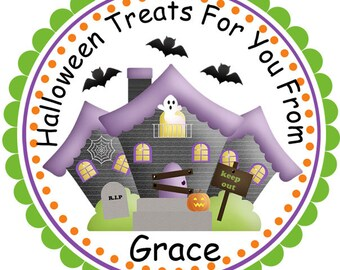 Halloween Spooky House- Personalized Stickers, Party Favor Tags, Thank You Tags, Gift Tags