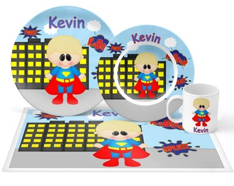 Superman Plate Set - Personalized Kids Plate, Bowl, Mug & Placemat - Super Heros Plate Set - Kids Plastic Tableware - Microwave Safe