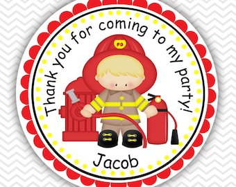 Fire Fighters - Personalized Stickers, Party Favor Tags, Thank You Tags, Gift Tags, Address labels, Birthday, Baby Shower