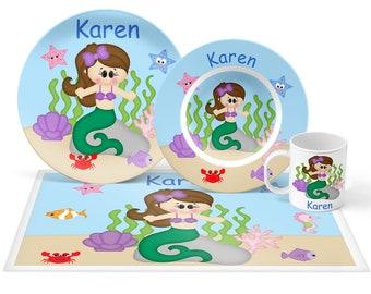 Under the Sea Plate Set - Personalized Kids Plate, Bowl, Mug & Placemat - Princess Ariel Plate Set - Kids Plastic Tableware - Microwave Safe