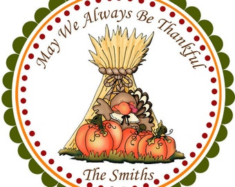 Thanksgiving Cornstalks - Personalized Stickers, Party Favor Tags, Thank You Tags, Gift Tags