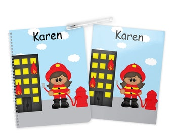 Fireman Girl Folder Notebook Set - Firegirl Personalized School Folder - Personalized Notebook - Folder with Name - Back to School