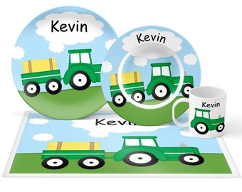 Tractor Plate Set - Personalized Kids Plate, Bowl, Mug & Placemat - Tractor Plate Set - Kids Plastic Tableware - Microwave Safe