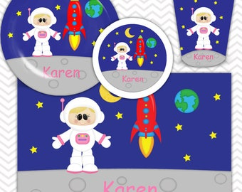 Space Astronaut Girl Plate, Bowl, Cup, Placemat - Personalized Space Dinnerware for Kids - Custom Tableware