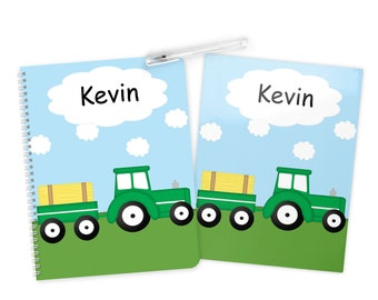 Tractor Folder Notebook Set - Personalized School Folder - Personalized Notebook - Folder with Name - Back to School