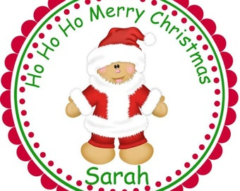 Christmas Ginger Santa -  Personalized Stickers, Party Favor Tags, Thank You Tags, Gift Tags, Address labels, Birthday, Baby Shower