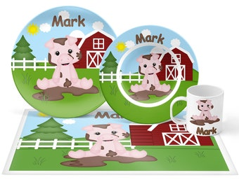 Pig Plate Set - Personalized Kids Plate, Bowl, Mug & Placemat - Pig Plate Set - Kids Plastic Tableware - Microwave Safe
